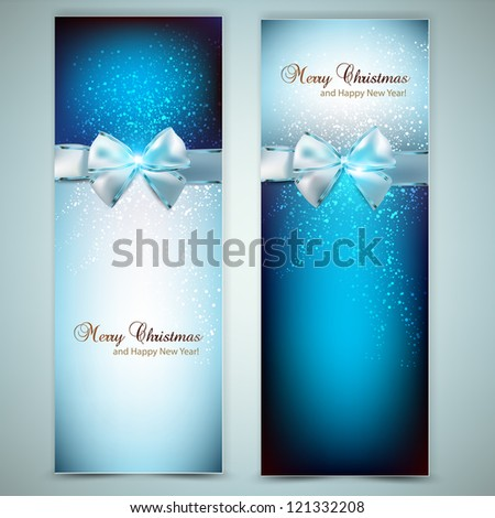 Elegant Christmas greeting cards with blue bows and place for text. Vector Illustration.