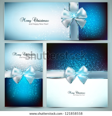 Elegant Christmas greeting cards with blue bows and place for text. Vector Illustration. - stock vector