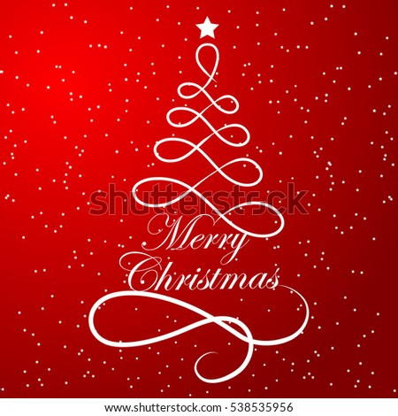 Elegant christmas tree composed lines on stock vector royalty free elegant christmas tree composed of lines on red space background with merry christmas text vector m4hsunfo
