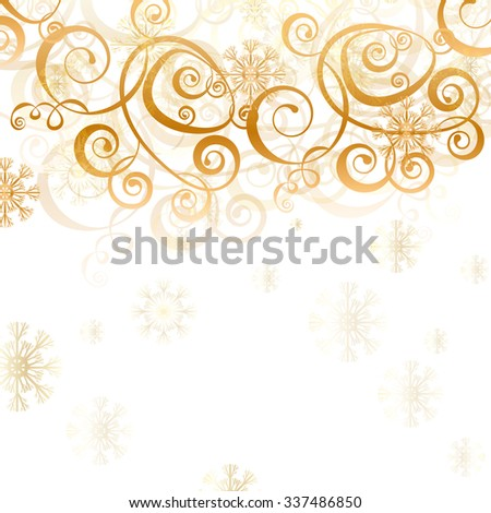 Elegant christmas white background with golden decoration, snowflakes and lights - stock vector