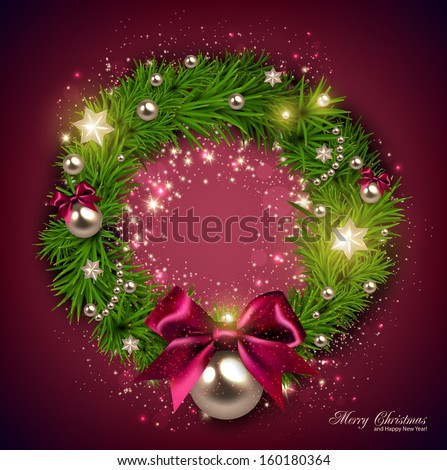 Elegant Christmas wreath with stars and bow. Vector - stock vector