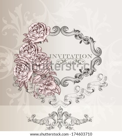 Elegant classic wedding invitation card. Retro vector - stock vector
