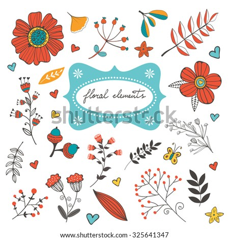 Elegant collection with flowers leaves and twigs. Ideal for invitations wedding or greeting cards