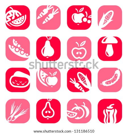 Elegant Colorful Fruit And Vegetables Icons Set Created For Mobile, Web And Applications. - stock vector