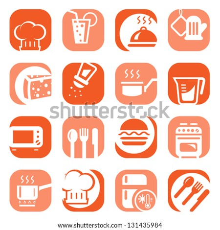Elegant Colorful Kitchen Icons Set Created For Mobile, Web And Applications. - stock vector
