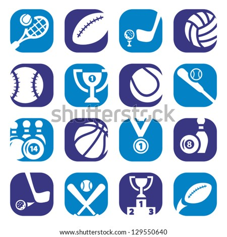 Elegant Colorful Sports Icons Set Created For Mobile, Web And Applications. - stock vector