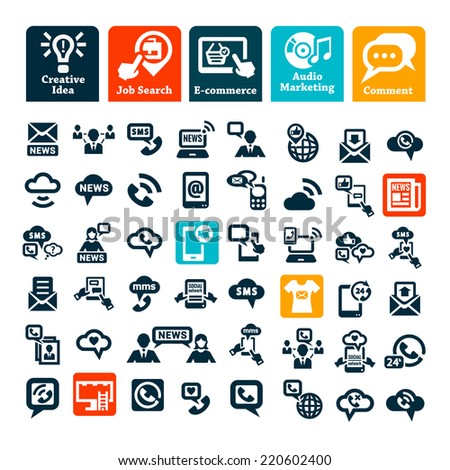 Elegant Communication Icons Set for web and mobile. - stock vector