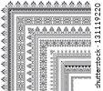 elegant corner border made of multiple black decorative frames - stock vector