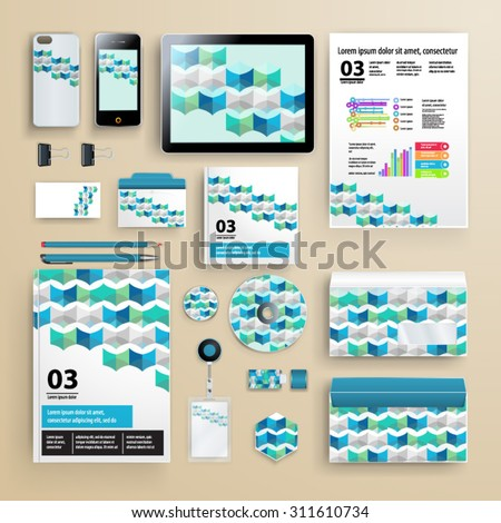 Elegant corporate identity template design with geometry pattern and infographics for your company. Cover layout. Business stationery. - stock vector