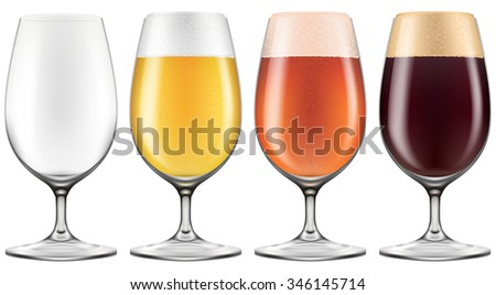 Elegant craft beer glass in four versions for lager, amber ale and stout with an empty one also included. Photo-realistic vector illustration.