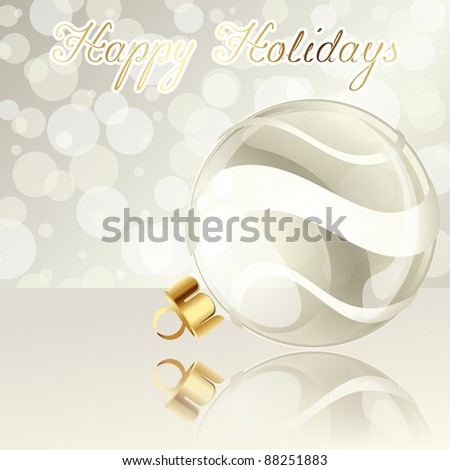 Elegant cream-colored holiday banner with Christmas ornament (eps10);  jpg version also available - stock vector