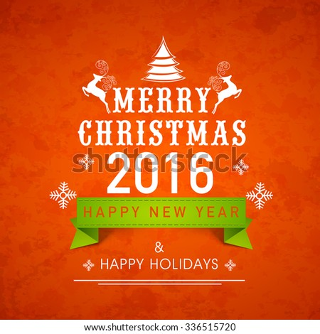 Elegant creative greeting card design for Merry Christmas and Happy New Year 2016 celebration. - stock vector