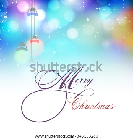 Elegant creative greeting card design with hanging lights on shiny background for Merry Christmas celebration. - stock vector