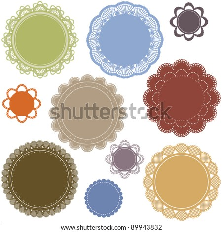 ELEGANT CROCHET LACE CLASSIC FRAME. For your graphic design projects: print, web, blog etc. Vector illustration file. - stock vector