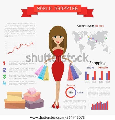 Elegant cute woman with long brown hair, red shoes, shopping bags, vector and illustration, modern art, shopping time concept, creative graphic design elements - stock vector