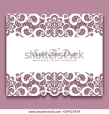 Elegant cutout paper frame with lace border ornament, vector greeting card or invitation template, eps10 - stock vector