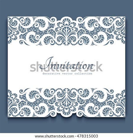 Elegant cutout paper frame lace border stock vector royalty free elegant cutout paper frame with lace border ornament vector greeting card or invitation template stopboris Gallery