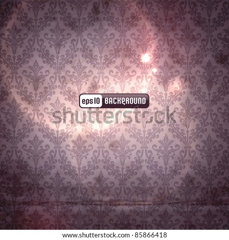 elegant damask background with classical wallpaper pattern, slightly grungy texture and light effects (seamlessly tiling pattern included) - stock vector