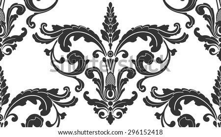 Black and white damask curtains 2