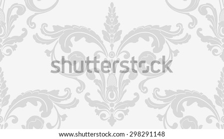 Elegant damask wallpaper. Grey vintage pattern. Seamless classic vector background. - stock vector