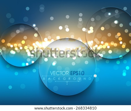 elegant defocused night lights with round ring transparent glass frame eps10 vector background - stock vector