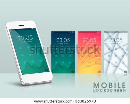 Elegant different Mobile User Interface Lock screens with smartphone presentation. - stock vector