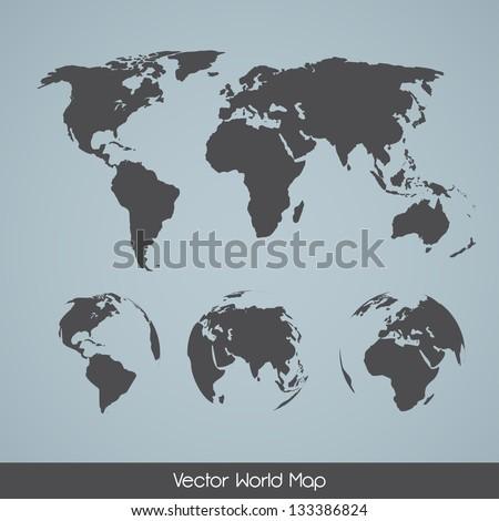 Elegant EPS10 vector World Map Variations - stock vector
