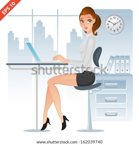 Elegant executive using her laptop in the office(VECTOR) - stock vector