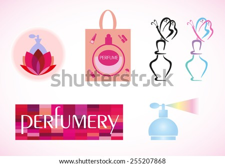 Elegant fashion logo design. Perfumes and cosmetics. Vector set  - stock vector