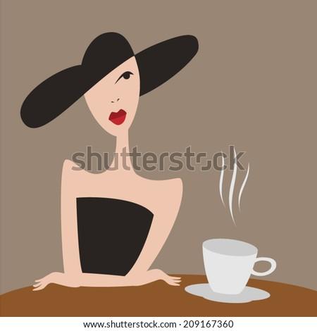 Elegant fashion woman drinking coffee - stock vector
