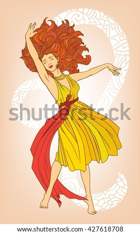 Elegant female figure in a dress. Tantsuschaya girl barefoot. Zodiac - Leo, in the form of a beautiful woman with luxurious hair. Expressive female dance. Vector illustration for zodiac sign. - stock vector