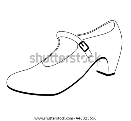 womens shoes on white background outline stock vector