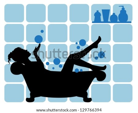 elegant female silhouette on the bathroom walls and a tiled background tubes of body care. - stock vector
