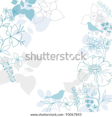 Elegant Floral Background- Bird Silhouettes, Flowers and Foliage Vector Illustration Design Elements - stock vector