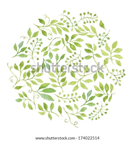 Elegant floral background with green leaves and branches. Vectorized watercolor drawing. - stock vector