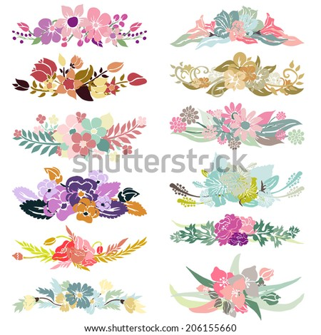 Elegant floral bouquets, design elements. Floral compositions can be used for wedding, baby shower, mothers day, valentines day cards, invitations. Vintage decorative flowers. - stock vector