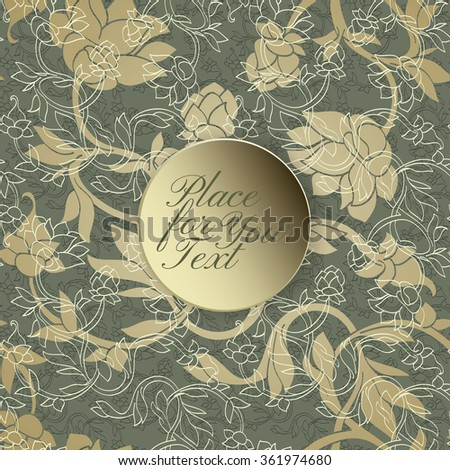 Elegant Floral card with Golden silhouettes of flowers on green textured flourish background