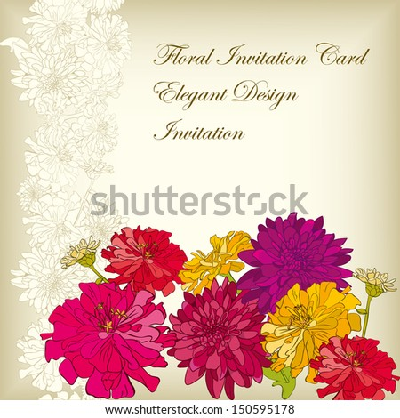 Elegant floral Card with hand-drawn flowers, brightly-colored