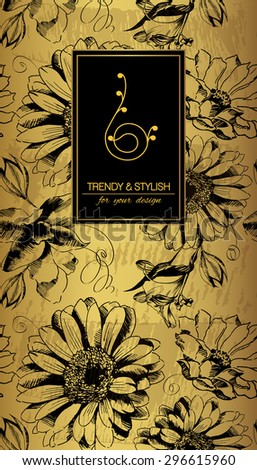 Elegant floral card with lace ornament and place for text. Flowers on gold background. Vector illustration.  - stock vector