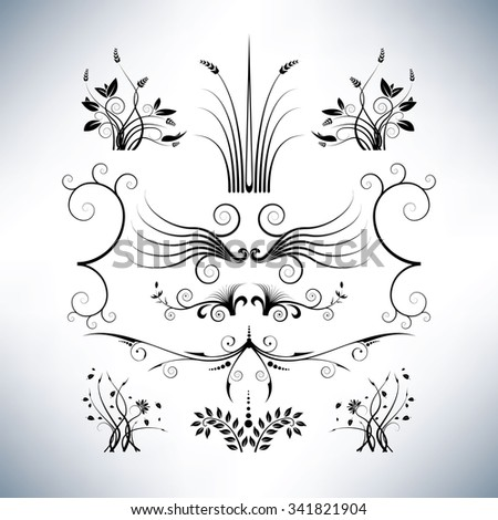 Elegant floral designs - stock vector