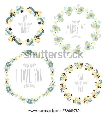 Elegant floral frames, design elements. Can be used for wedding, baby shower, mothers day, valentines day, birthday cards, invitations. Vintage decorative flowers. - stock vector