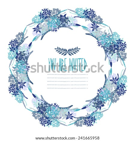 Elegant floral hyacinth wreath, design element. Can be used for wedding, baby shower, mothers day, valentines day, birthday cards, invitations. Vintage decorative flowers. - stock vector