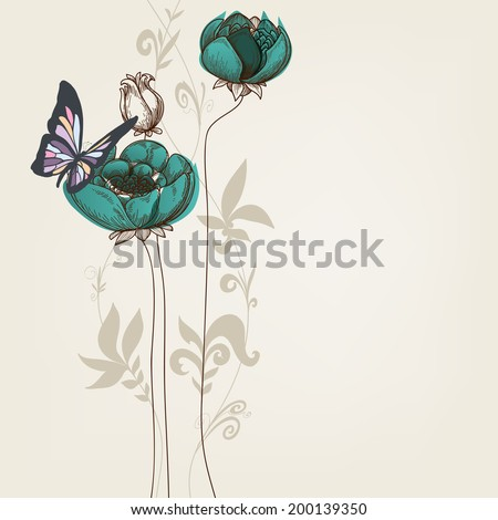 Elegant floral invitation with butterfly - stock vector