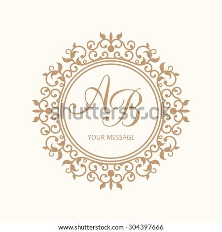 Stock Vector Elegant Floral Monogram Design Template For One Two Letters Wedding Calligraphic Logo Shabby Gratis