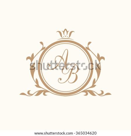 Elegant floral monogram design template for one or two letters . Wedding monogram. Calligraphic elegant ornament. Business sign, monogram identity for restaurant, boutique, hotel, heraldic, jewelry. - stock vector