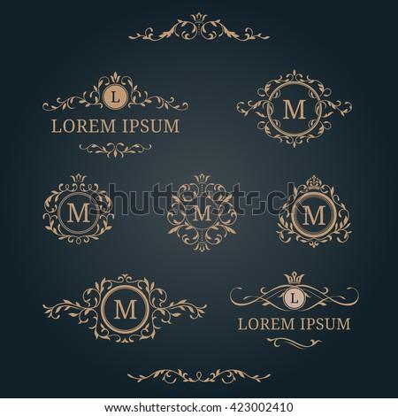 Elegant floral monograms and borders. Design templates for invitations, menus, labels. Wedding monograms. Calligraphic elegant ornament. Monogram identity for restaurant, hotel, heraldic, jewelry. - stock vector
