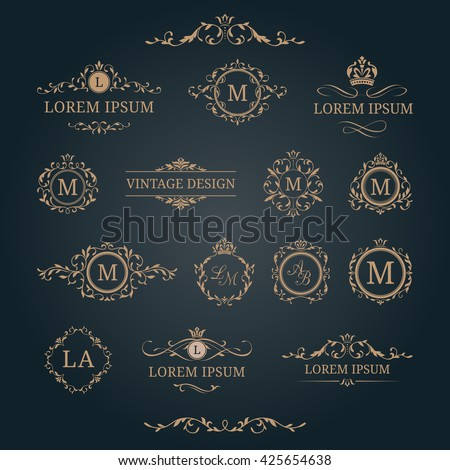 elegant floral monograms and borders design templates for invitations menus labels wedding