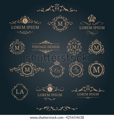 Elegant floral monograms and borders. Design templates for invitations, menus, labels. Wedding monograms. Monogram identity for restaurant, hotel, heraldic, jewelry. - stock vector