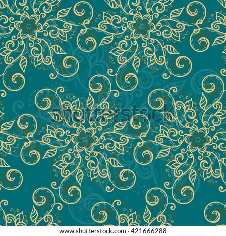 Elegant floral pattern. Seamless texture with turquoise blue background and elegant floral motives. Use: textile, wrapping paper, wallpaper, ceramic tiles, decoupage, scrapbook, decorative element - stock vector