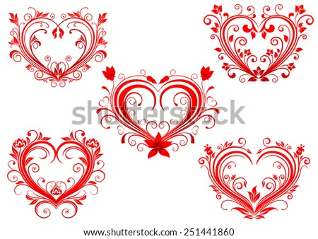 Elegant floral red valentine hearts set in classic calligraphic style with flowing frames for Valentines Day and love concept design - stock vector